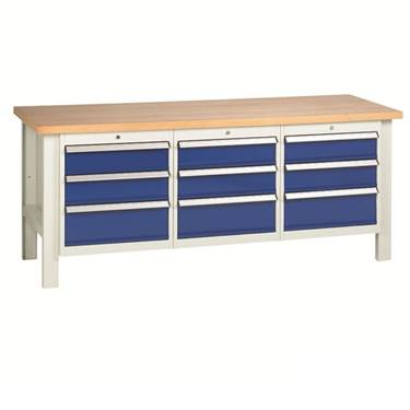Picture of Heavy Duty Workbenches with 3 x 3 Drawer Sets