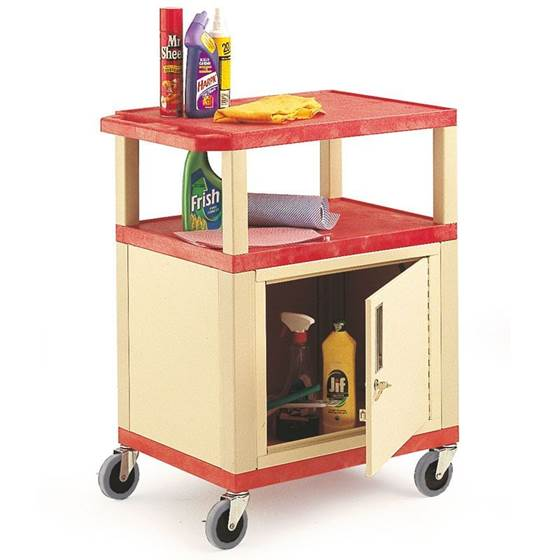 Picture of Service Trolley with Coloured Shelves & Cabinet